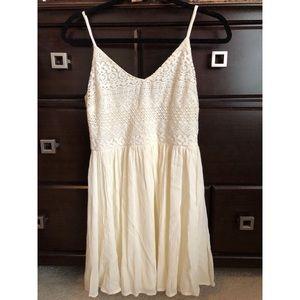 White lace top, flow-y dress